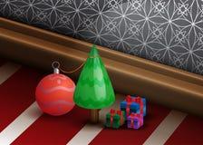 Schöner Weihnachtshintergrund mit kleiner Kiefer Tre Stockfotos