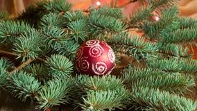 Schöner Weihnachtshintergrund mit Tannenzweigen und roter Ball, Platz für Ihren Text Stockfoto