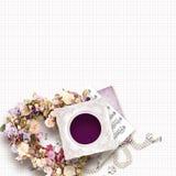 Schöner Weinleserahmen für ein Foto am Einklebebuchart-, Valentinsgruß `s Tag oder am Hochzeitsthema Lizenzfreie Stockfotografie