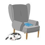 Schöner Weinlesestuhl, Notizbuch und ein netter Hund vektor abbildung