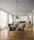 Schöner Wohnzimmerinnenraum mit Massivholzböden Stockbilder