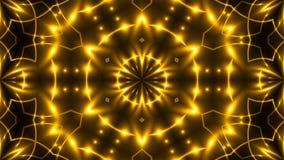 Schönes abstraktes Kaleidoskop - goldenes Licht des Fractal, 3d übertragen Hintergrund, den Computer, der Hintergrund erzeugt Lizenzfreies Stockfoto