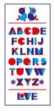 Schönes abstraktes Plakat mit buntem Alphabet Modische geometrische Schablone in der modernen Art auf weißem Hintergrund für Konz Stockfoto