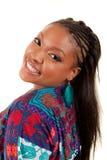 Schönes Afroamerikanerfrauenlächeln stockbilder