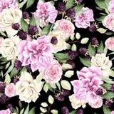 Schönes Aquarellmuster mit Blumen stieg und Brombeere stock abbildung