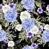 Schönes Aquarellmuster mit Blumenhudrangea und -rosen Lizenzfreie Stockfotografie