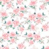 Schönes Aquarellmuster mit Pfingstrose und rosafarbenen Blumen Muster mit Lizenzfreie Abbildung