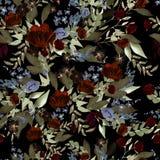 Schönes Aquarellmuster mit Pfingstrose und Rosen blüht Lizenzfreies Stockfoto