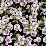 Schönes Aquarellmuster mit Pfingstrose und Stiefmütterchen blüht, lpetunia und Blätter Lizenzfreie Stockbilder