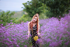 Schönes asiatisches Mädchen lächelt auf dem purpurroten Blumengebiet Lizenzfreies Stockbild