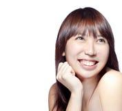 Schönes asiatisches Mädchen mit vollkommener Haut Lizenzfreie Stockfotos