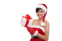 Schönes Asien-Frauenabnutzung Weihnachtsmann-Kostüm, Weihnachtsmädchen h Lizenzfreies Stockfoto