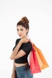 Schönes atractive Mädcheneinkaufen Lizenzfreies Stockbild