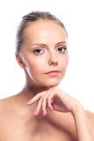 Schönes attraktives Mädchen lokalisiert auf Weiß Stockbild