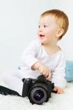 Schönes Baby mit Kamera Stockbilder