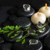 Schönes Badekurortkonzept des grünen Zweigfarns, -eises und -kerzen auf Zen Lizenzfreies Stockbild