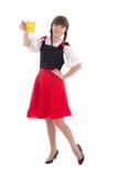 Schönes bayerisches Mädchen mit Schale Bier Stockfotografie