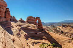 Schönes Bild genommener empfindlicher Bogen am Bogen-Nationalpark in Utah Stockfotografie