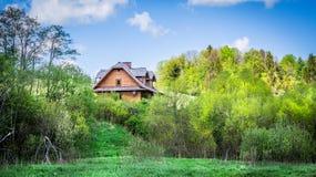 Schönes Blockhaus im Wald Stockbild