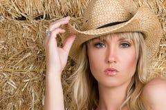 Schönes blondes Cowgirl Stockfotografie