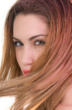 Schönes blondes Frau expresion mit grünen Augen Stockfoto