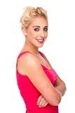 Schönes blondes Frauen-Lächeln Stockbild