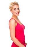 Schönes blondes Frauen-Lächeln Stockbilder