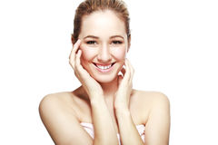Schönes blondes Frauen-Lachen Lizenzfreie Stockfotos