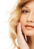 Schönes blondes Frauengesicht Lizenzfreies Stockfoto