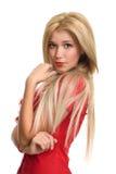 Schönes blondes Frauenportrait Stockfotos