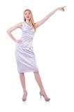 Schönes blondes im eleganten Kleid lokalisiert auf Weiß Lizenzfreies Stockfoto