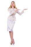 Schönes blondes im eleganten Kleid lokalisiert auf Weiß Lizenzfreie Stockbilder