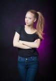 Schönes blondes jugendlich Mädchenporträt Stockbild