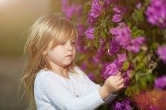 Schönes blondes kleines Mädchen mit riechender Blume des langen Haares lizenzfreie stockfotografie
