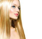 Schönes blondes Mädchen über Weiß lizenzfreie stockbilder