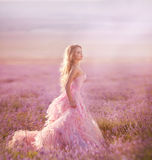 Schönes blondes Mädchen auf einem Gebiet des Lavendels Stockfotos
