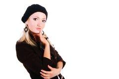 Schönes blondes Mädchen in der Jacke Stockfotografie