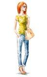 Schönes blondes Mädchen an der Straße Sommerblick Adobe Photoshop für Korrekturen Lizenzfreies Stockfoto