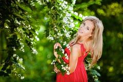 Schönes blondes Mädchen in einem roten Kleid kostet über Jasmin Stockfotos