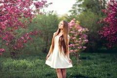 Schönes blondes Mädchen im rosa Pfirsich und Kirschblüte arbeiten im Garten Schönes Mädchen draußen entspringen Porträt, junge Fr Lizenzfreies Stockbild