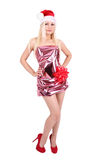 Schönes blondes Mädchen im Sankt-Hut und im glänzenden Kleid Lizenzfreies Stockbild