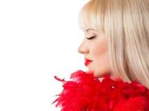 Schönes blondes Mädchen mit den roten Lippen Stockfotos