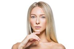 Schönes blondes Mädchen mit natürlichem Make-up Lizenzfreies Stockfoto