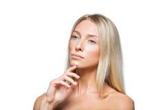 Schönes blondes Mädchen mit natürlichem Make-up Lizenzfreies Stockbild
