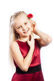 Schönes blondes Mädchen mit stieg in Haar Stockfotos