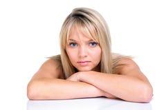 Schönes blondes mit blauen Augen Stockfoto