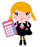 Schönes blondes Schulmädchen mit Taschenrechner Stockbilder