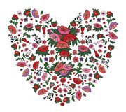 Schönes Blumenherz gemacht von den roten und rosa Mohnblumen und von den Tulpen lokalisiert auf Weiß lizenzfreie abbildung