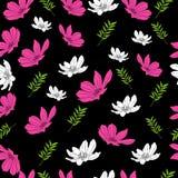 Schönes Blumenmuster auf schwarzem Hintergrund Lizenzfreie Stockfotos