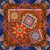 Schönes Blumenmuster in der Patchworkart Indische, arabische, aztekische, marokkanische, mexikanische Motive Stockfotos